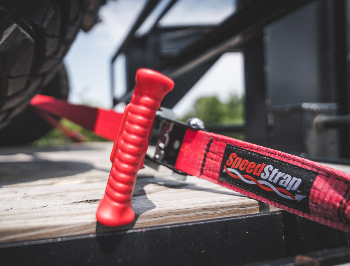 SpeedStrap's close up shot of straps tieing down an off road vehicle